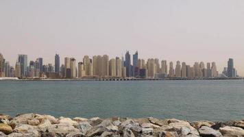 uae day light dubai marina palm view panorama 4k video
