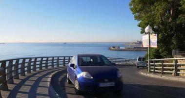 vista do porto da estrada da montanha da cidade de Tarragona 4k video