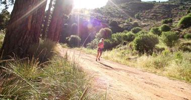 corredor em um caminho de terra na natureza com clarão de sol