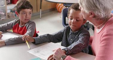 professeur principal avec de jeunes écoliers en classe, vue latérale