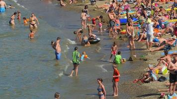 People bathing on the beach of Collioure. France - Europe