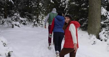 grupo de personas, invierno, bosque nevado