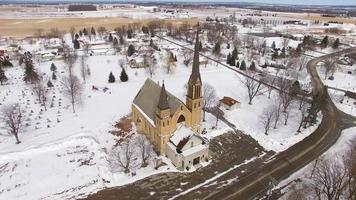 Majestic church in small town towers over everything video