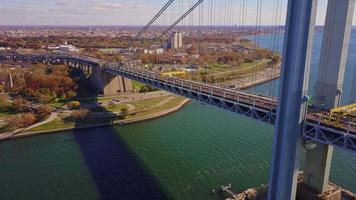 Runners of the New York City Marathon Crossing Verrazano Bridge 4k video