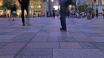 Time-lapse de un gran grupo de personas moviéndose por una concurrida calle de moda, 4k