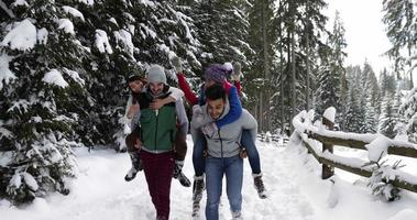 Group Of People Winter Snow Forest Smiling Friends Using Smart Phone Internet In Snowy Park