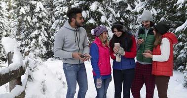 grupo de pessoas na floresta de neve de inverno caminhando amigos sorridentes tirando uma foto de selfie em um parque nevado