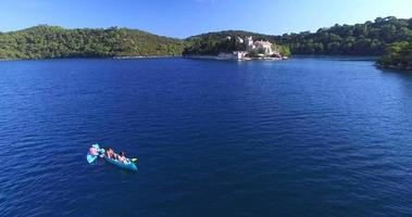 Aerial view of people kayaking on the island of Mljet, Croatia video