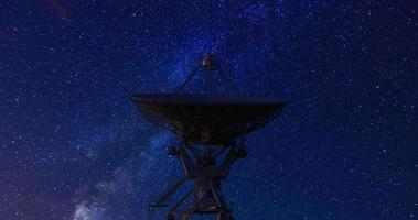 satélite e estrelas girando video
