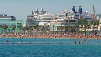 Beaches of Barcelona city.Time lapse.Tilt-shift effect.4k. video