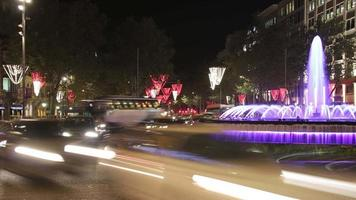 Barcelona Christmas Street Lights Decorations and Traffic video