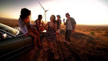 amigos de viagem em uma festa ao ar livre em uma noite de verão video