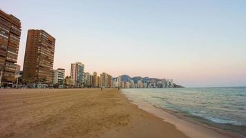 Spagna Benidorm tramonto costa vista 4K lasso di tempo