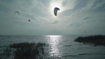 Kitesurfers in the sunset
