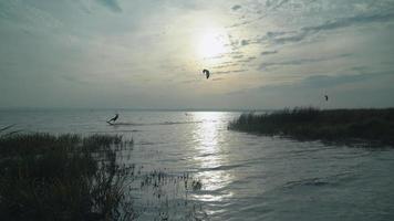 Kitesurfers flying and freeride on water