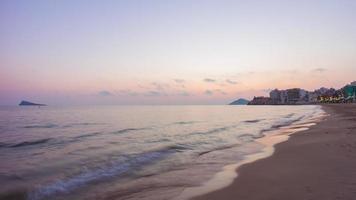Spagna tramonto benidorm spiaggia panorama 4K lasso di tempo