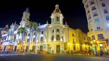 Spagna valencia notte luce vacanza decorazione quadrato 4k lasso di tempo