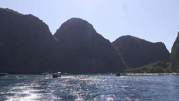 Thailand berühmte Sommerlicht Koh Phi Phi Don Strand Fahrt weg Panorama 4k