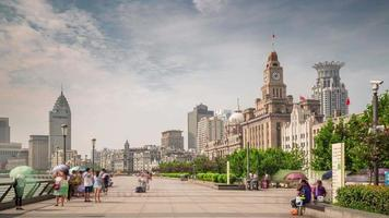 China Tag Shanghai Stadt berühmte Bucht Zollhaus Spaziergang Panorama 4k Zeitraffer