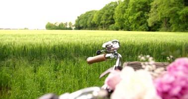 Vintage Fahrrad mit Blumen im Korb video
