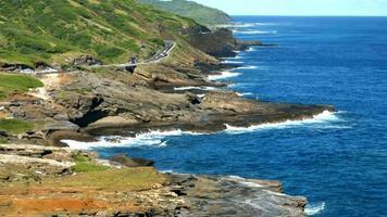 4 k hawaii, acantilados y mar de la isla de oahu, costa este de oahu.