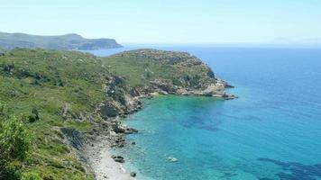 majestätischer leerer türkisfarbener Strand, Blickwinkel, Knidos, Datca, Truthahn