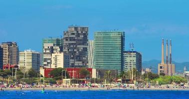 Barcelona beach. Timelapse of Barcelona city beach view. Resort at Spain video