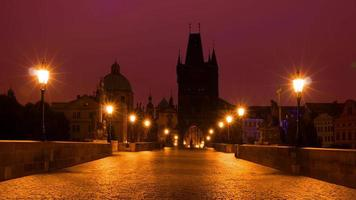 Tourists and Photographers on the Charles Bridge. Time Lapse UHD