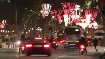Barcelona Christmas Street Lights Decorations and Traffic 4k video
