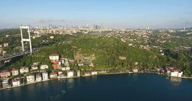 Istanbul skyscrapers and bosphorus 4K aerial