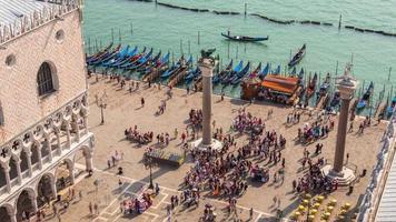 Italien sonniger Tag Saint Marko Platz Palazzo Ducale Bay Luft Panorama 4k Zeitraffer Venedig video