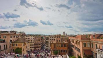 Italien Sommertag Rom Stadt Spanisch Schritte Top Stadtbild Brunnen Panorama 4k Zeitraffer video