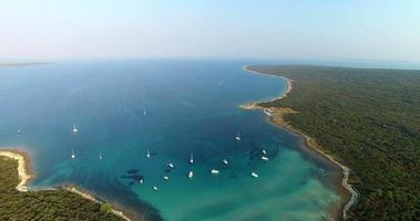 Aerial view of beautiful Slatinica bay, Croatia video