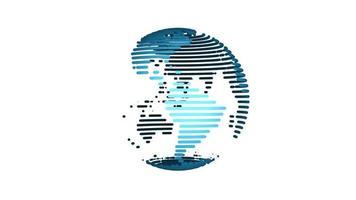 animación del globo giratorio del planeta tierra sobre fondo blanco. Bucle de 4k. video