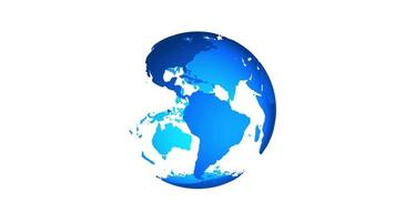 animação do globo girando do planeta Terra em fundo branco. Loop 4k. video