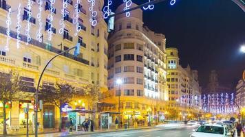 Spagna notte luce valencia vacanza decorazione traffico strada 4k lasso di tempo