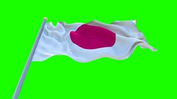 bandeira do Japão acenando na tela verde, animação de loop sem costura.