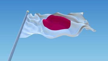 bandeira do Japão acenando em céu claro, animação de loop sem costura.