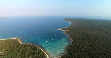 Aerial view of beautiful Slatinica beach at Olib Island, Croatia