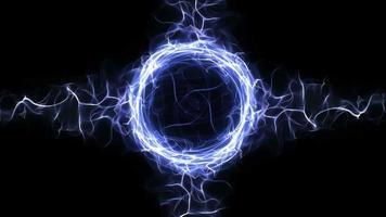 Fibras de partículas azules vacías y fondo de anillo, lazo, 4k video