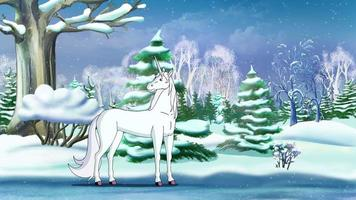 Magic Unicorn in a Winter Forest UHD