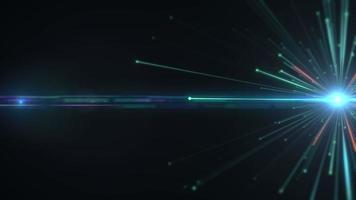 explosão de partículas brilhantes com trilhas e animação de reflexo de lente