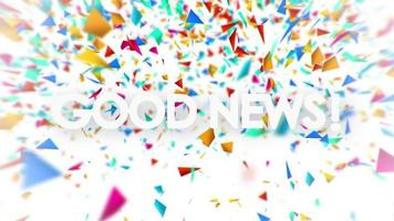 Good News sign with falling colorful confetti animation