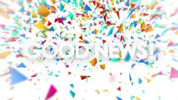 bonne nouvelle avec animation de confettis colorés tombant