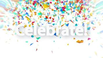 Celebrate white sign with falling confetti animation