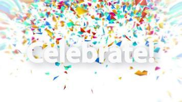 célébrer le signe blanc avec une animation de confettis tombant