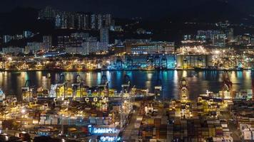 night light hong kong port panoramic 4k time lapse from china