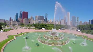 vista aérea da fonte de buckingham em chicago