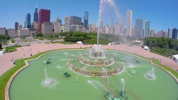 vista aerea della fontana di buckingham a chicago