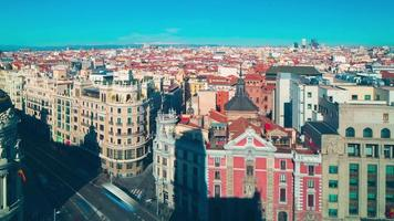 madrid sunny day observation deck city panorama 4k time lapse spain
